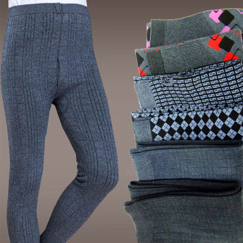 Mens and womens double-layer thickened slim fit middle-aged and elderly knitted cashmere pants, wool pants, leggings, warm pants, wool pants