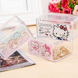 日本hellokitty凯蒂猫塑料有盖可叠加收纳盒防尘首饰置物盒小件整图片