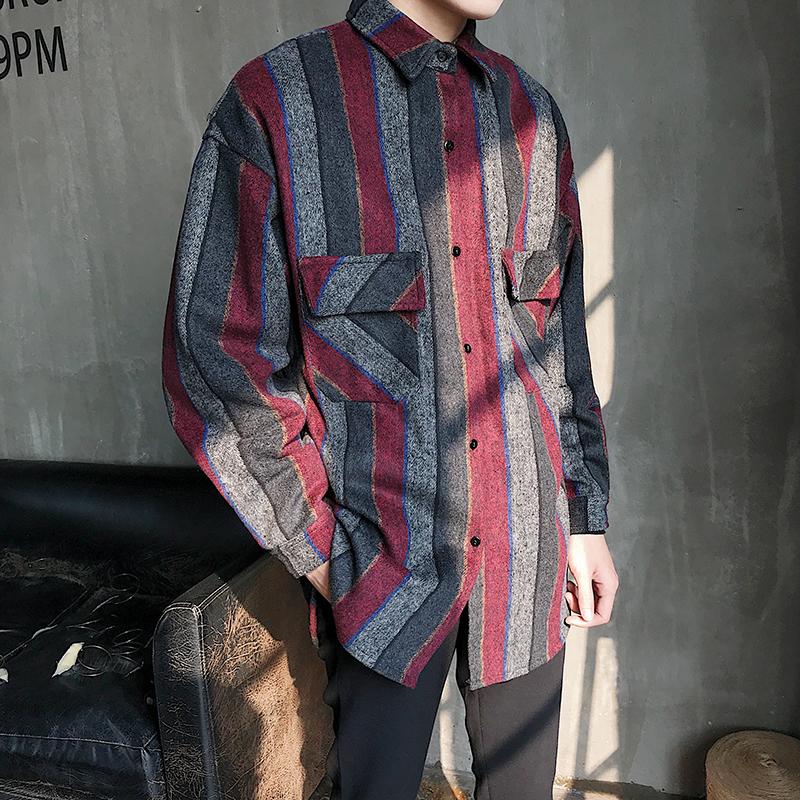 2019秋季毛呢衬衫加厚条纹呢料男衬衫保暖长袖宽松衬衫D505P70