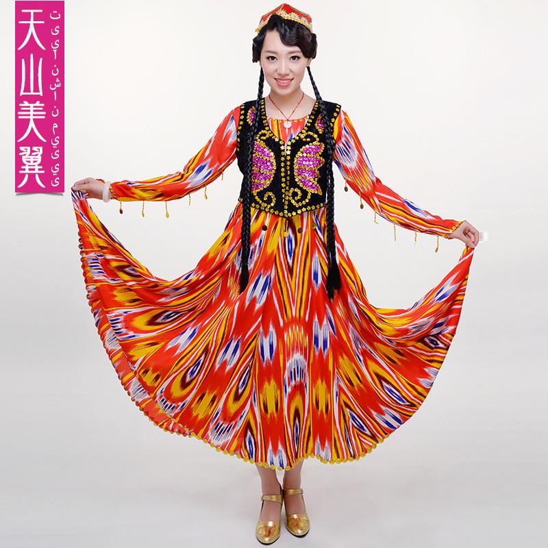 民族服装舞蹈演出服装维吾尔族长裙女表演服饰 新疆艾迪莱斯丝绸