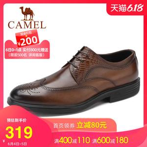 骆驼男鞋2020年春季商务正装真皮休闲防滑大底时尚布洛克