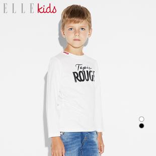 ELLE Kids童装男童针织T恤长袖上衣2018冬装新款儿童保暖打底衫