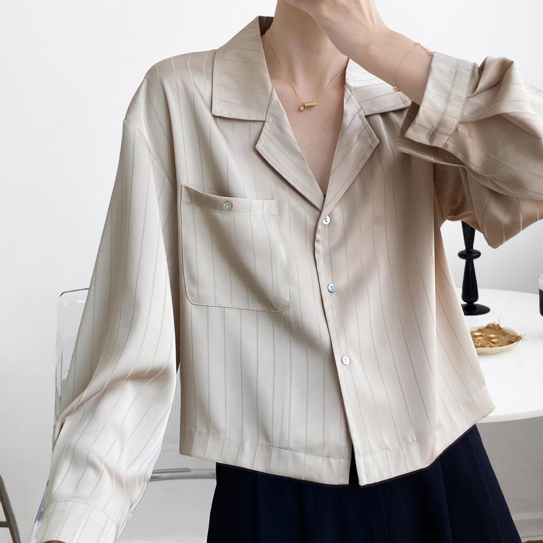 轻简2020秋季新复古条纹个性设计感小众缎面垂感衬衫衬衣女  上衣