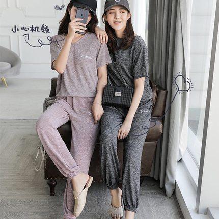 2019仙女懒懒套装懒人宽松舒适透气显瘦宅宅两件套女束口长裤短袖