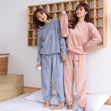 Net Red Fairy warm pants suit coral velvet outer sweater loose Plush casual autumn and winter sports two piece set