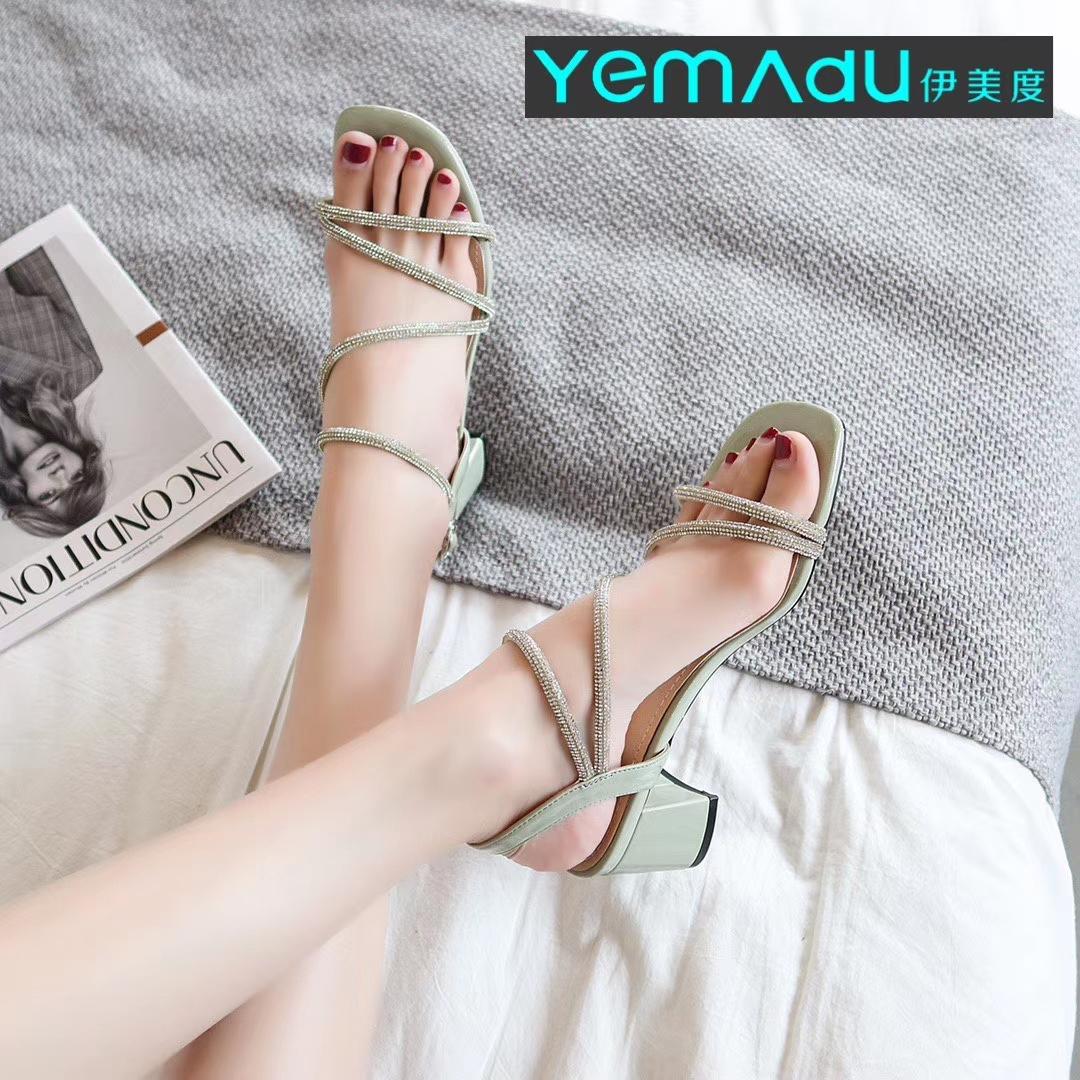 Imedu 2020 new thick heel Rhinestone one line with INS fashion fairy style, versatile Roman open toe sandals