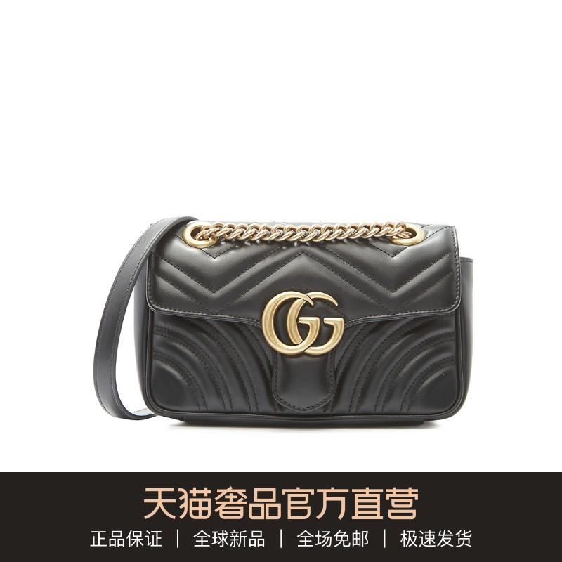 Gucci/古驰GG Marmont牛皮绗缝做旧GG复古链条女包单肩包斜挎包图片