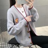 毛衣外套 针织开衫 V领学院风很仙 女宽松短款 新款 2019秋冬装 韩版