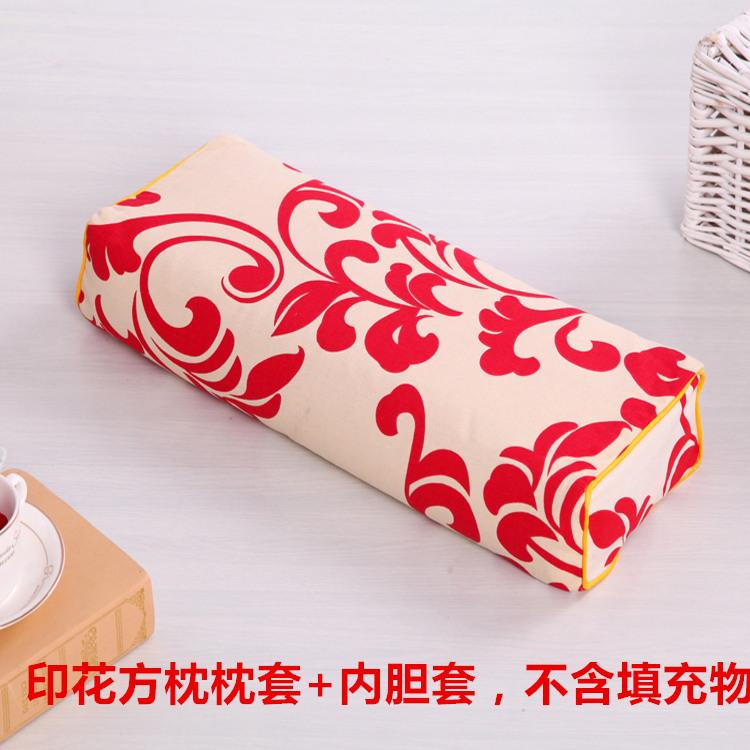 纯棉老粗布宫廷复古长方枕颈椎枕套拉链式枕套枕皮不含填充物枕兜