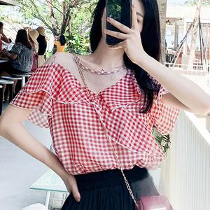 一字领格子衬衫女宽松设计感小众上衣夏季2020款复古港味露肩衬衣