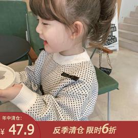 童装2020新款女童洋气蝴蝶结毛衣儿童秋冬针织衫宝宝韩版冬装线衣