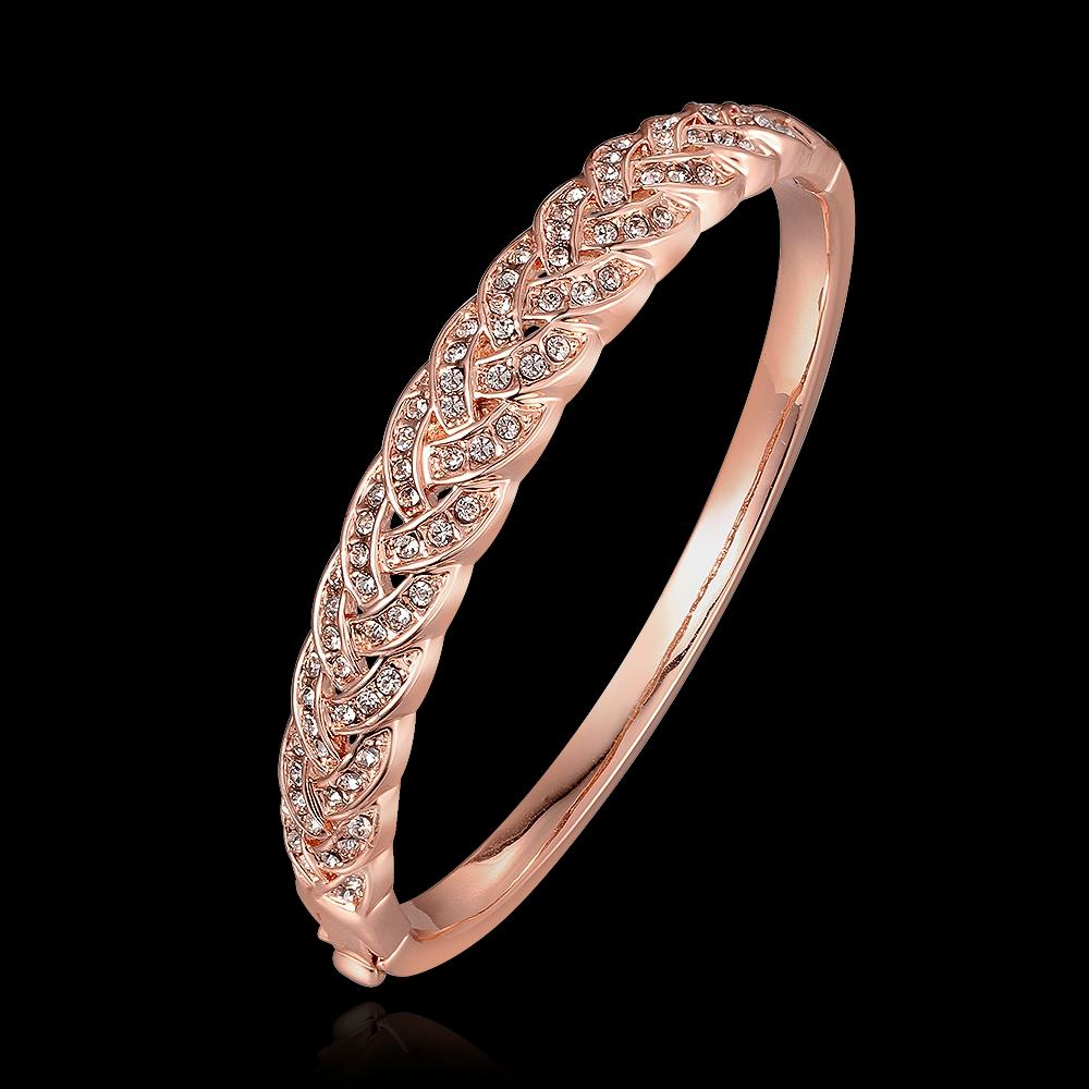 Rose Gold Bracelet woven with full Diamond 18K color gold womens jewelry Korean temperament European and American Korean jewelry bracelet
