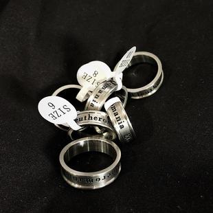原创戒指 SAZ新款 潮牌Eleutheromania字母钛钢百搭不掉色尾戒男女