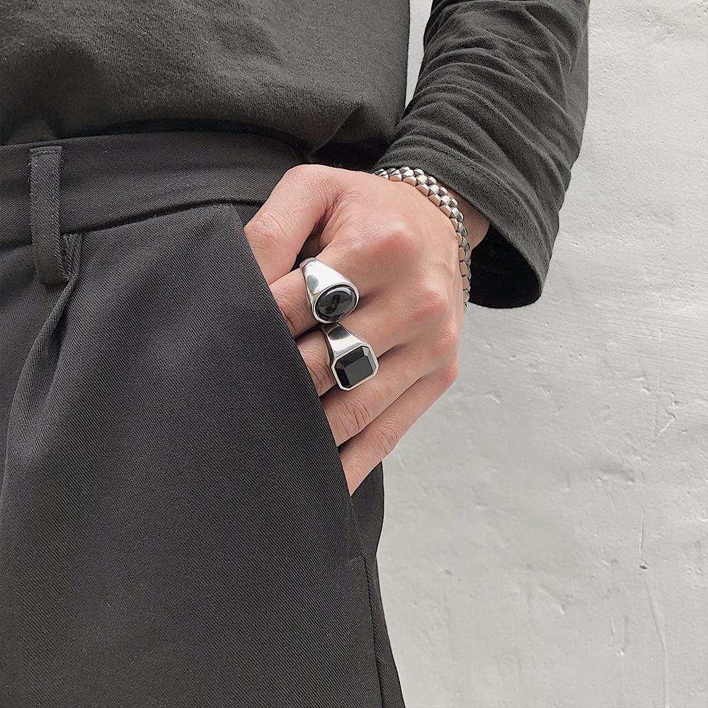 ZICO同款东大门网红情侣对戒简约百搭INS风黑色宝石钛钢戒指男女