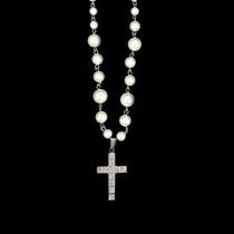 SAZ欧美流行复古个性嘻哈项链国潮ins风珍珠镶钻十字架配饰男女潮