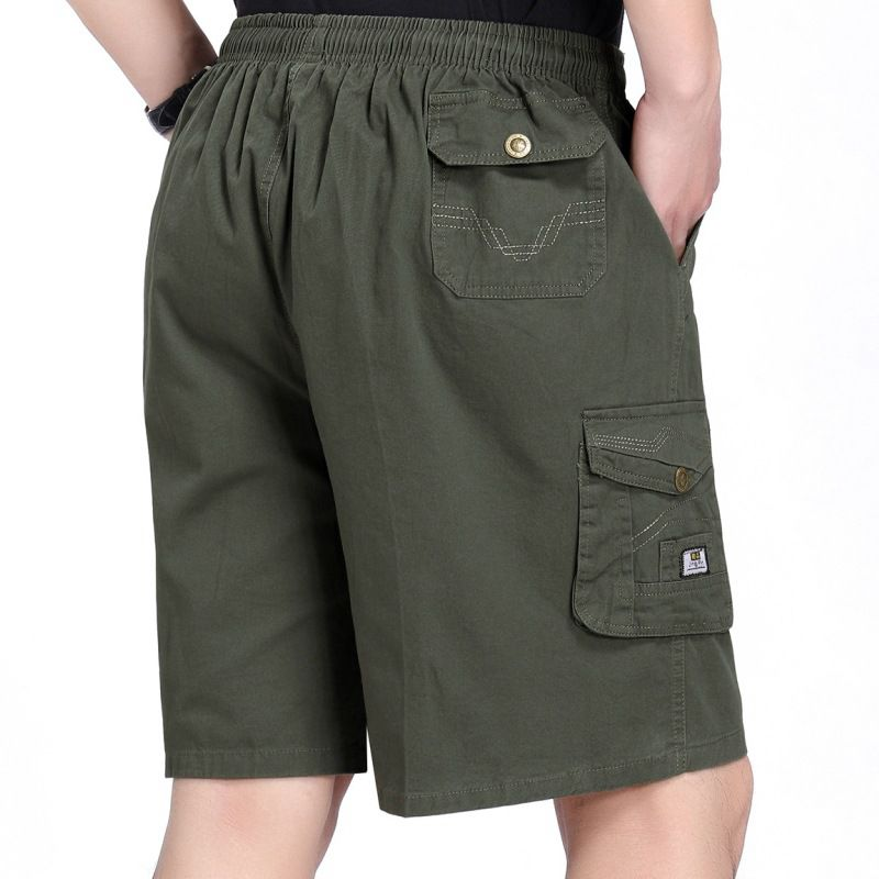 Mens military green card shorts, work clothes, beach pants, elastic waist, summer casual heatstroke prevention clothing, Pure Cotton Boxer pants