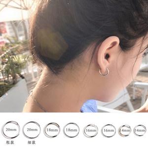 耳圈女 圆环圆圈款男气质韩国个性百搭小圆形耳扣大圈圈纯银耳环