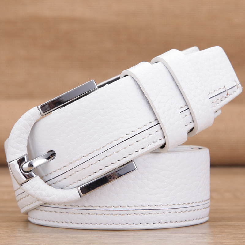 White leather belt leather mens pin buckle fashion casual jeans with Englander top layer cowhide female pure white belt