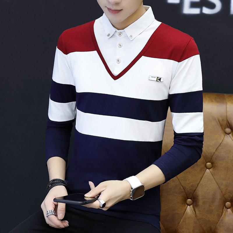 爆款T188-P45假两件t恤男韩版修身衬衫领学生长袖纯棉翻领polo衫