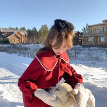XIAOGULI珍珠娃娃领毛呢大衣女2020年新款冬季宽松中长款呢子外套