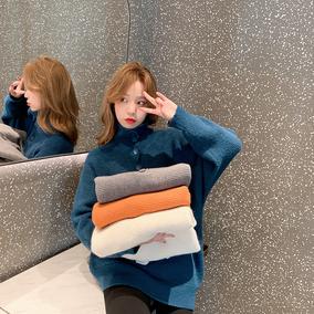 【季末打折】小谷粒纽扣高领女冬毛衣