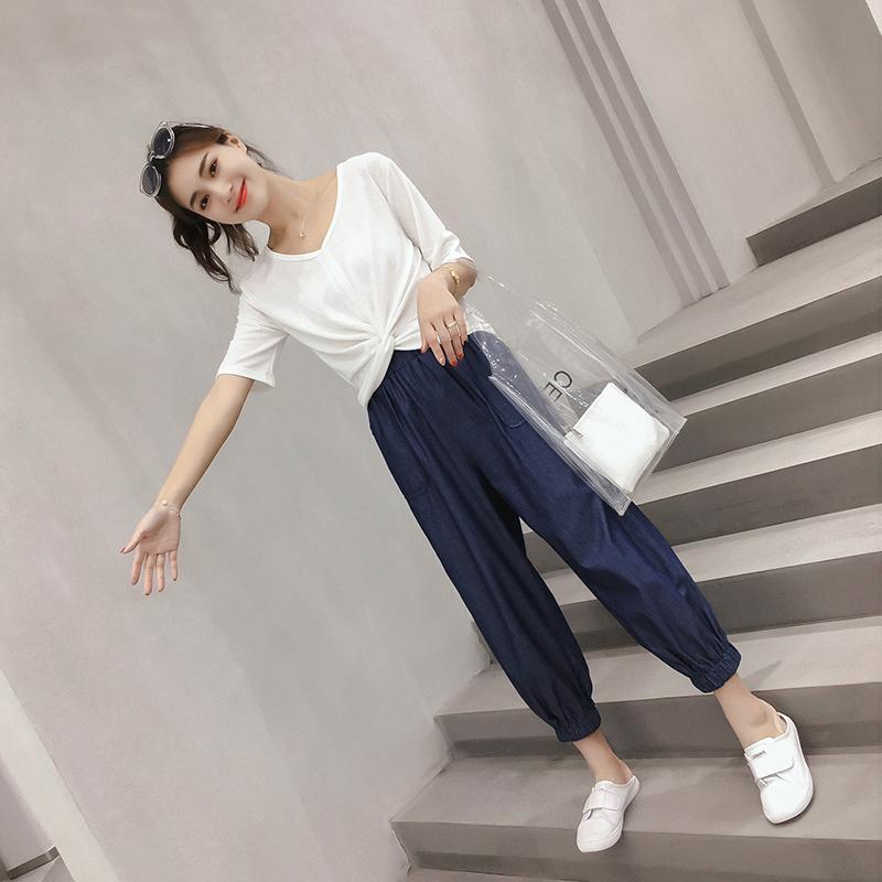 萝卜裤套装夏装2018新款女俏皮韩版网红同款港味上衣九分裤两件套