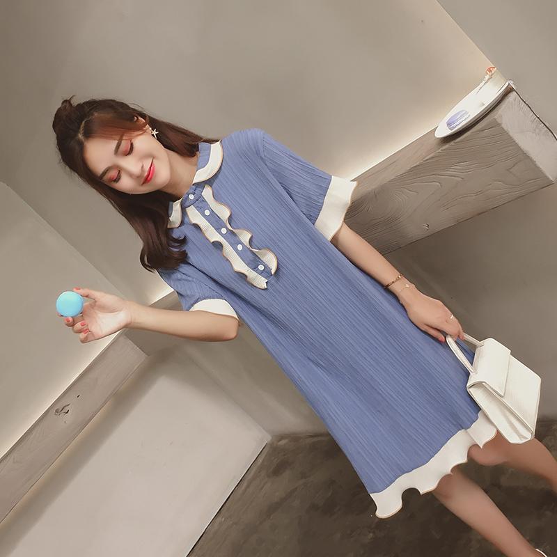 蓝色连衣裙夏中长款宽松2018新款小清新藏肉初恋sukol少女蛋糕裙