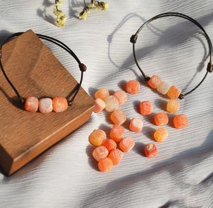 大橘大利 橘 甜 可爱萌哒橘子色玛瑙手绳手链学生闺蜜礼物女