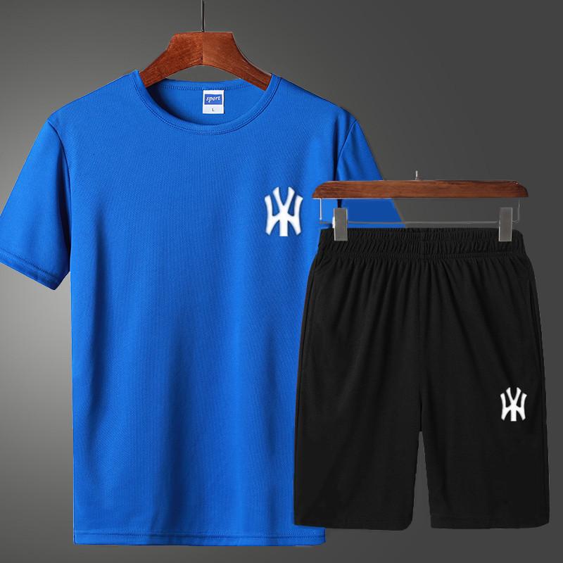 男士短袖T恤休闲运动套装韩版短裤沙滩裤潮流2020新款上衣服半袖图片