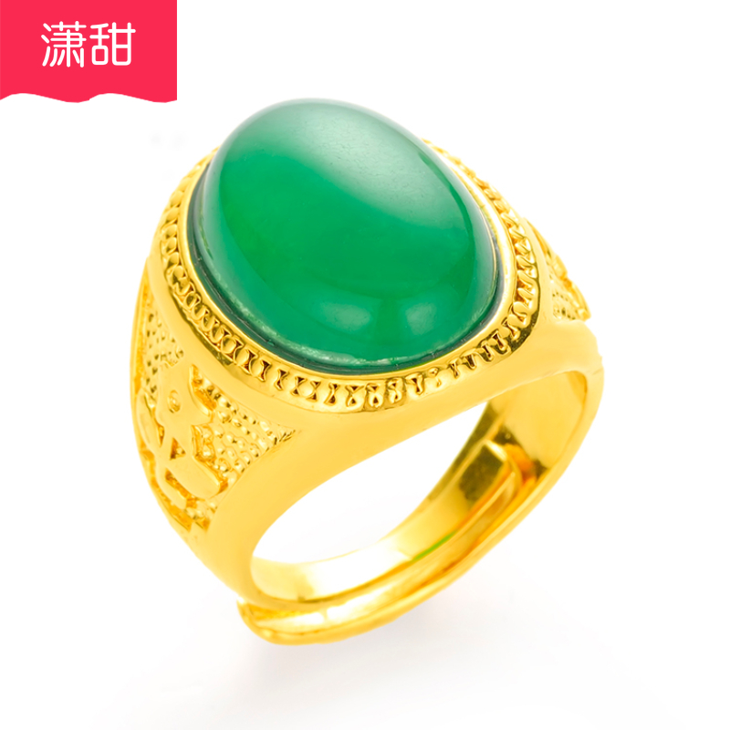 Gemstone sand gold ring masculine domineering Obsidian personality lasting for a long time net red gold plated jewelry