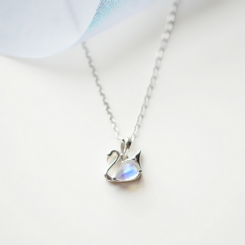 Japanese and Korean style 925 Silver Genuine 18K White Gold Plated Little Swan Necklace simple temperament Sen moonlight Stone Pendant