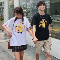 纯棉夏装新款港风日系情侣装宽松短袖T恤男女学生T恤T812-P38男类