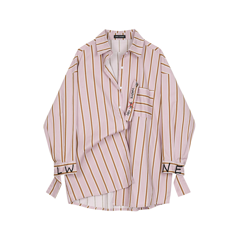 (用1元券)VEGA CHANG条纹衬衫女长袖2019早秋新款韩版字母刺绣衬衣宽松上衣