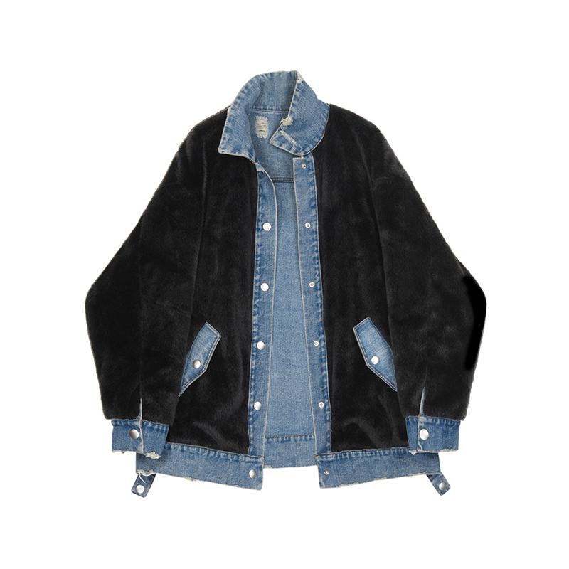 (用10元券)VEGA CHANG破洞牛仔短外套女2019秋冬新款正反两穿加绒夹克外套