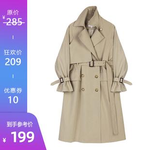 【199元狂欢价】风衣女韩版系带收腰显瘦双排扣过膝气质外套秋价格