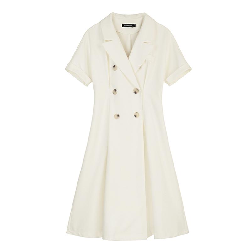 (用5元券)VEGA CHANG双排扣连衣裙女短袖小清新气质法式复古连衣裙2019夏季