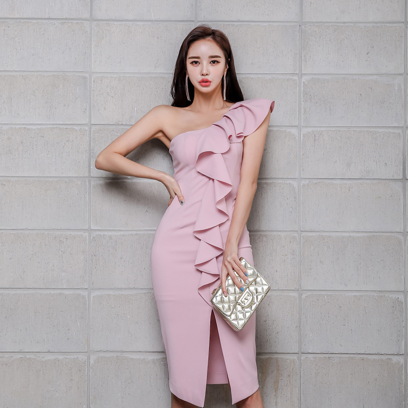 Dress 2020 summer new fashion celebrity womens wear inclined collar slit Slim Pencil Skirt
