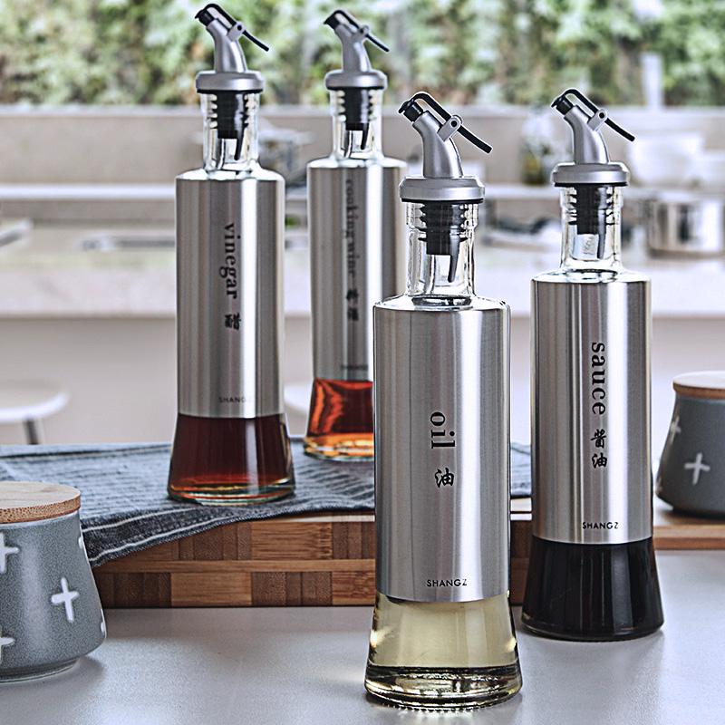 厨房油壶不锈钢油瓶酱油瓶家用玻璃醋瓶酱油醋调料瓶装香油麻油瓶