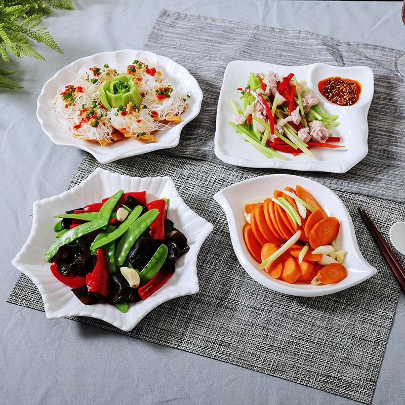 创意陶瓷盘子菜盘家用纯白汤盘浅盘平盘蛋糕点心盘不规则盘子餐具