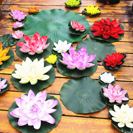 Floating simulation lotus leaf fish tank decorated with plastic props