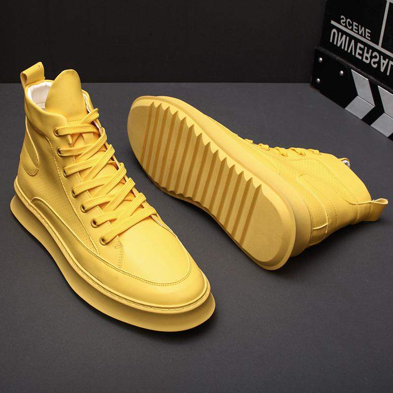 Imported positive brand European station mens shoes spring tide shoes yellow breathable high top shoes mens trend personality increased short