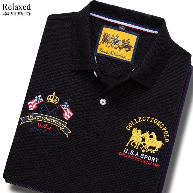 进口品牌全棉短袖翻领T恤品牌男夏装美国旗马球POLO衫保罗上衣服