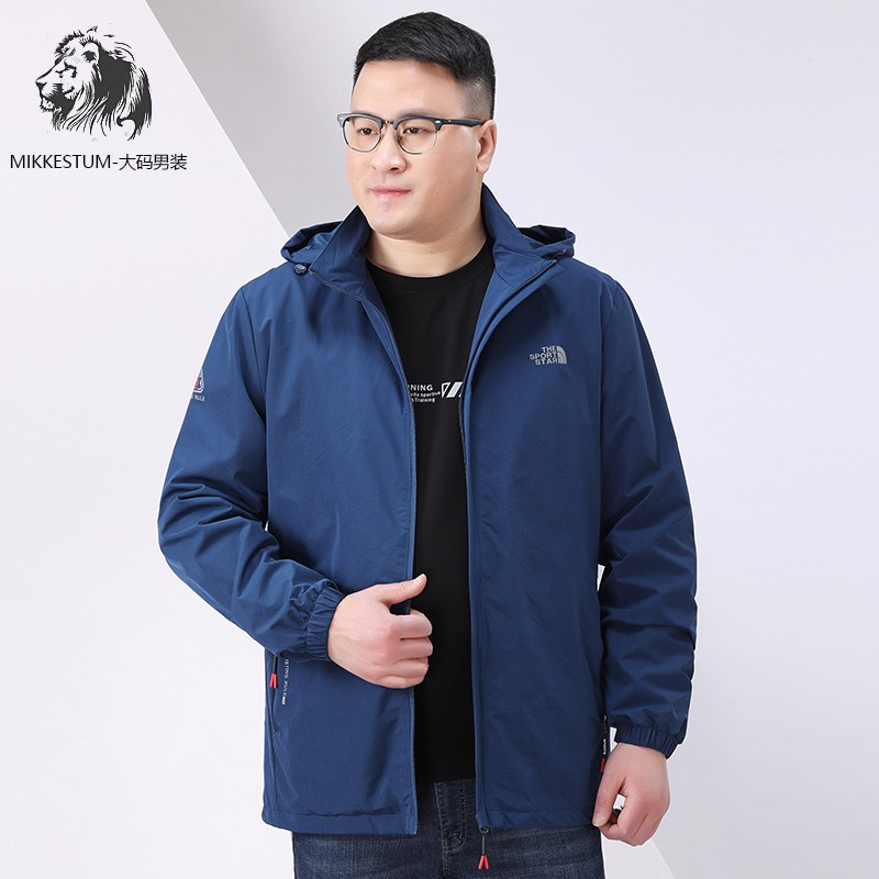 High end brand plus fat mens jacket fat man outdoor sports leisure large coat extra large fat man thin