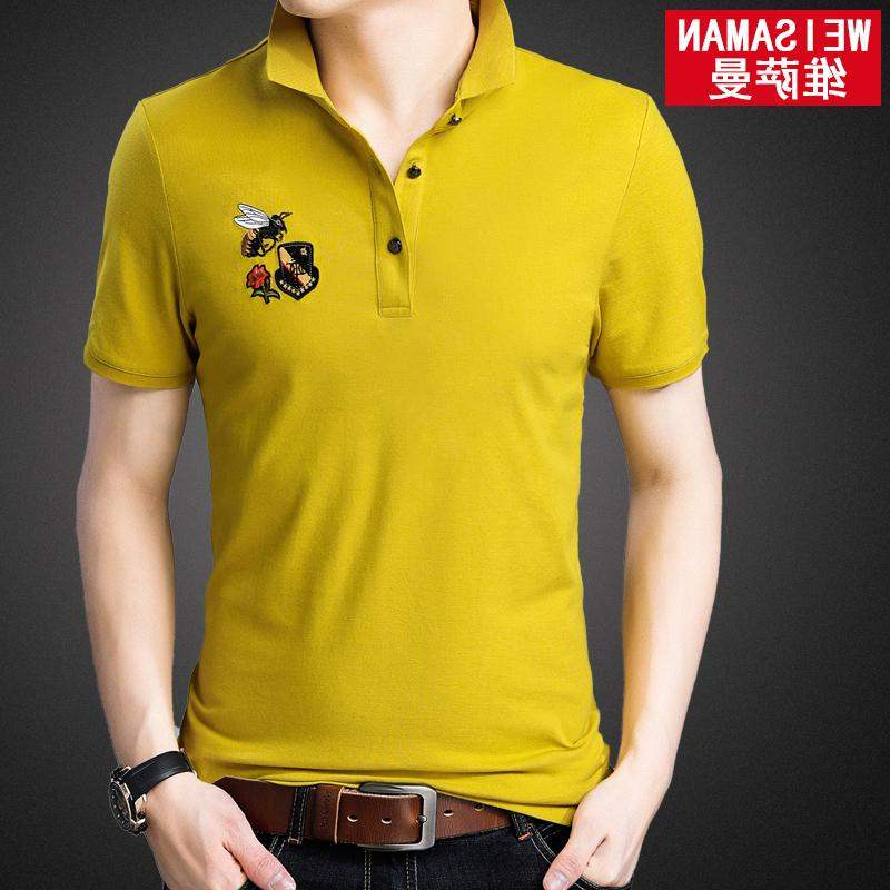 Hot selling mens short sleeve ice silk T-shirt iced cotton collar summer Polo embroidered shirt fashion clothes