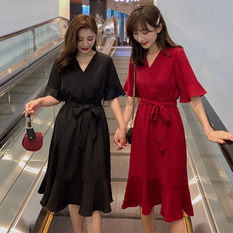 大码女装胖妹妹夏装2019新款遮肚显瘦减龄洋气复古法国小众连衣裙