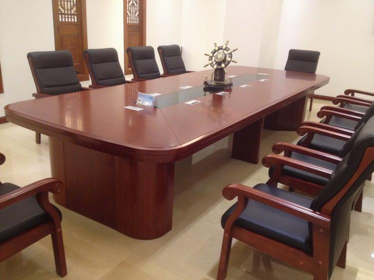 椭圆形大型贴木会议桌办公桌长桌子烤漆椅组合接待培训桌办公家具
