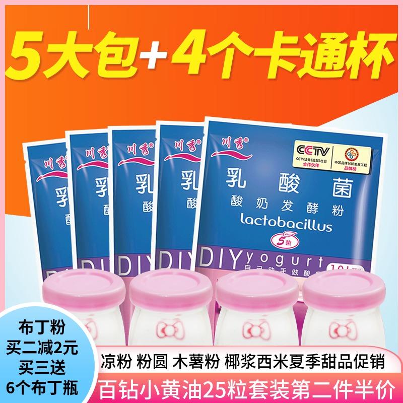 5大包川秀乳酸菌酸奶发酵剂益生菌家用做酸奶菌粉送酸奶机和分杯