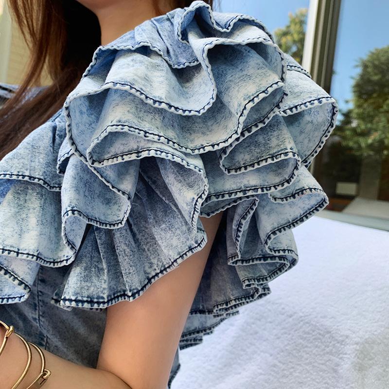 【地球店】赫本风V领无袖荷叶边牛仔短款收腰上衣女夏薄款娃娃衫