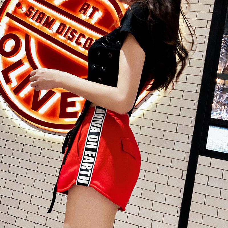 红色休闲高腰超短裤女春夏新款修身显瘦松紧腰时尚运动裤子女