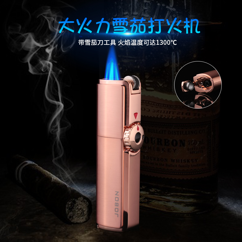 Zhongbang windproof inflatable lighter high grade direct blue flame portable cigar lighter with three head drill